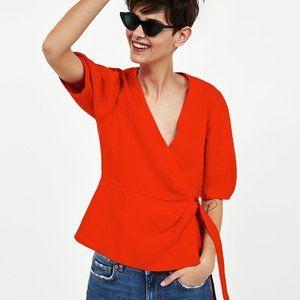 Zara Bright Red Linen Wrap Shirt